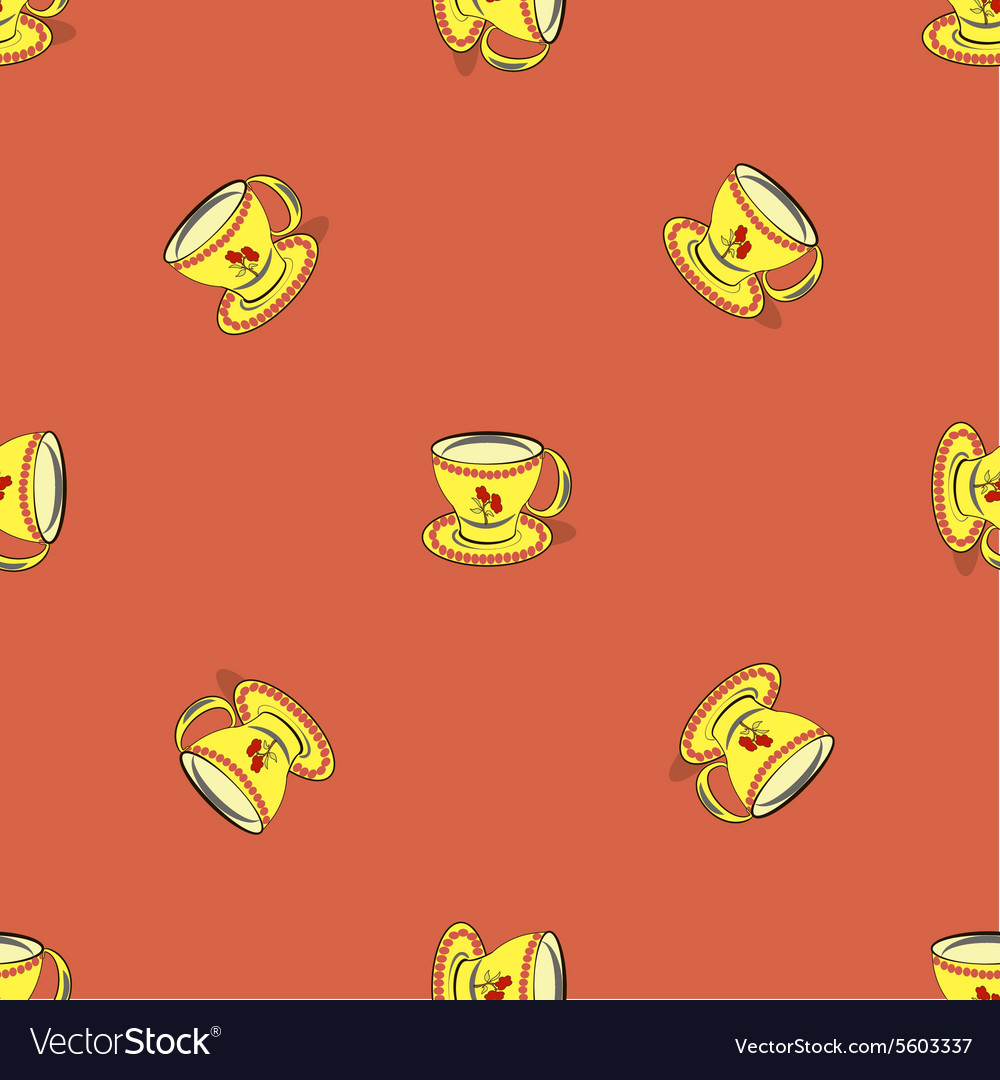 Seamless pattern with tea cup vector