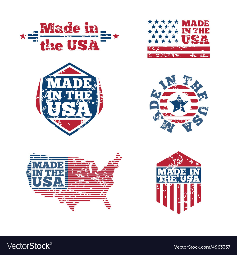 Usa labels with grunge effect vector