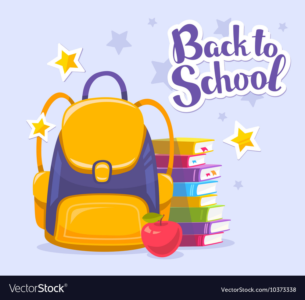 Colorful of yellow backpack pile of books vector