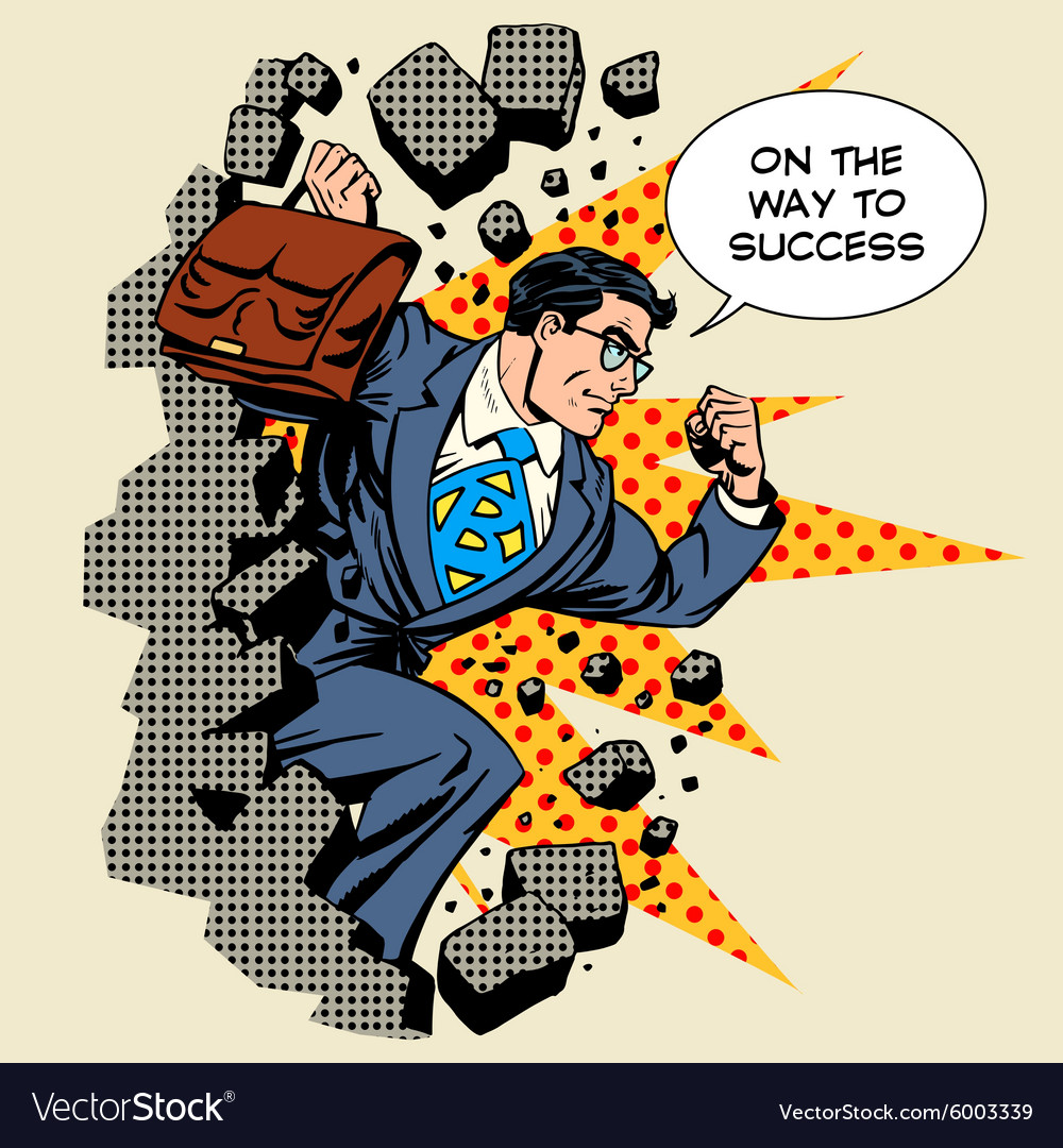 Business breakthrough success businessman hero vector