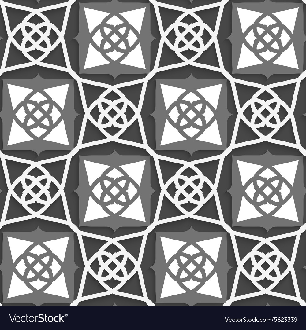 Geometrical arabian ornament with white and grays vector