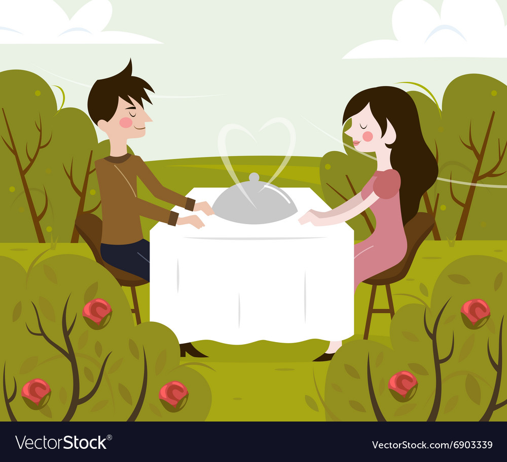 Romantic date of man and vector