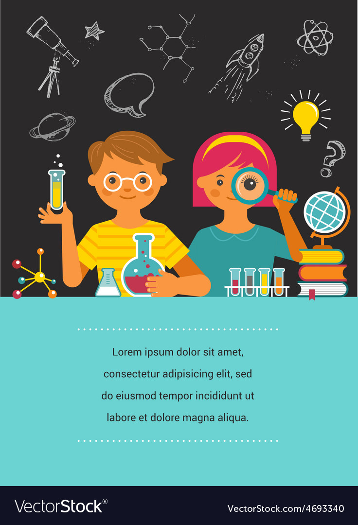 Young scientist  education research and school vector