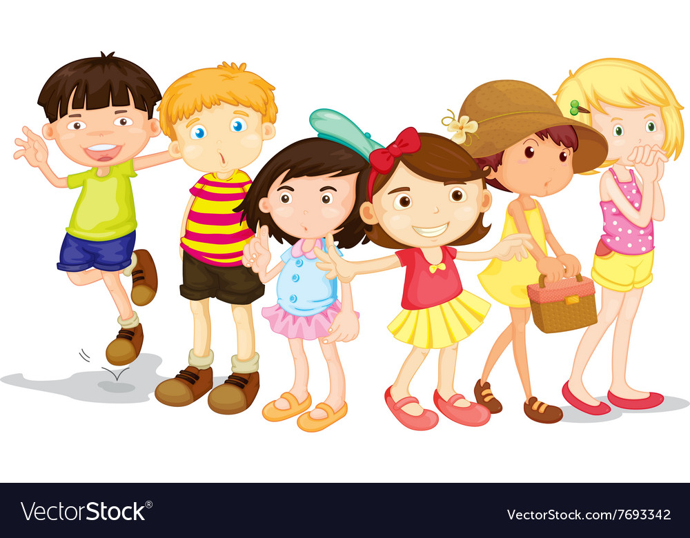 Group of boys and girls vector