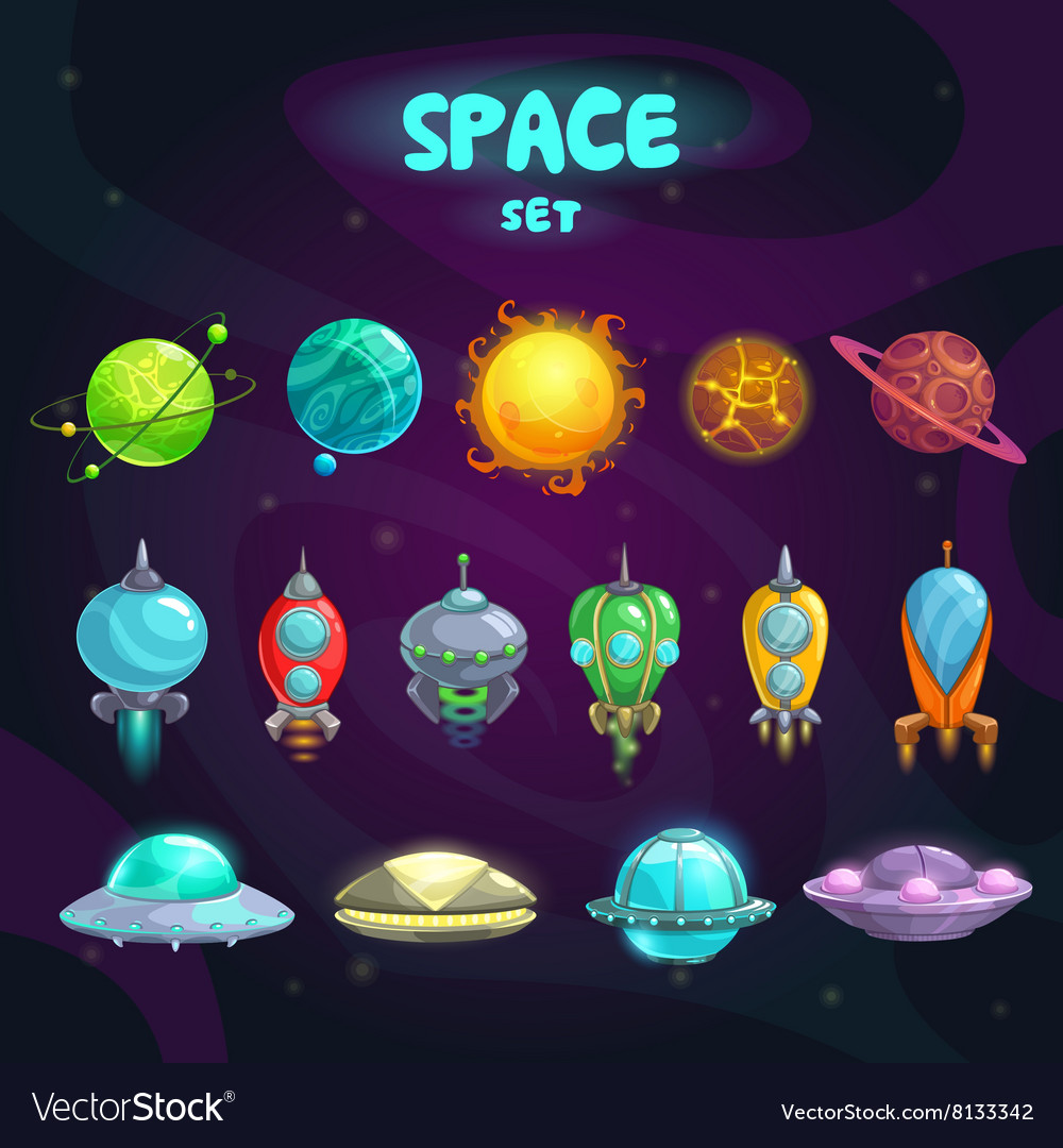 Space cartoon icons set vector