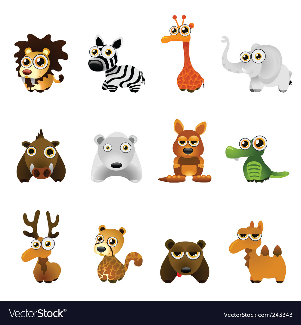 Cartoon wild animal set vector