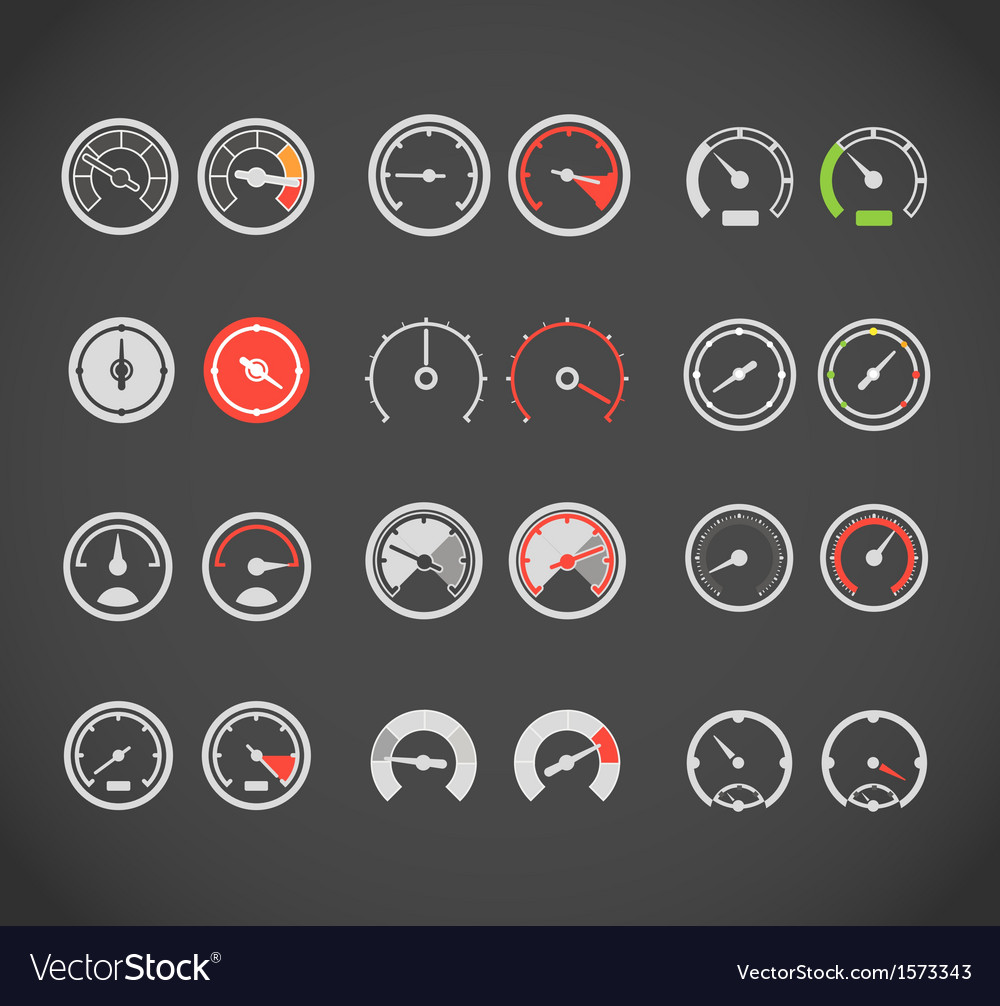 Different slyles of speedometers color collection vector