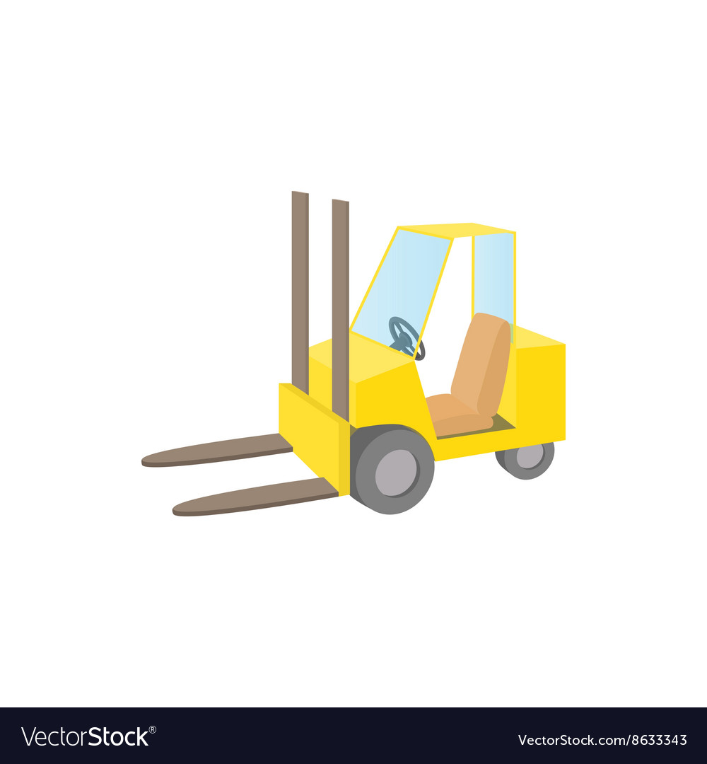 Forklift truck icon cartoon style vector