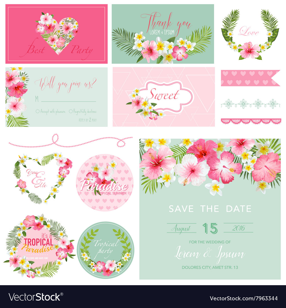 Scrapbook design elements  tropical flower theme vector