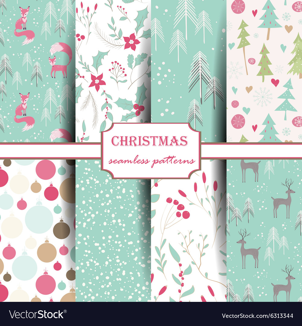Set of winter seamless patterns vector