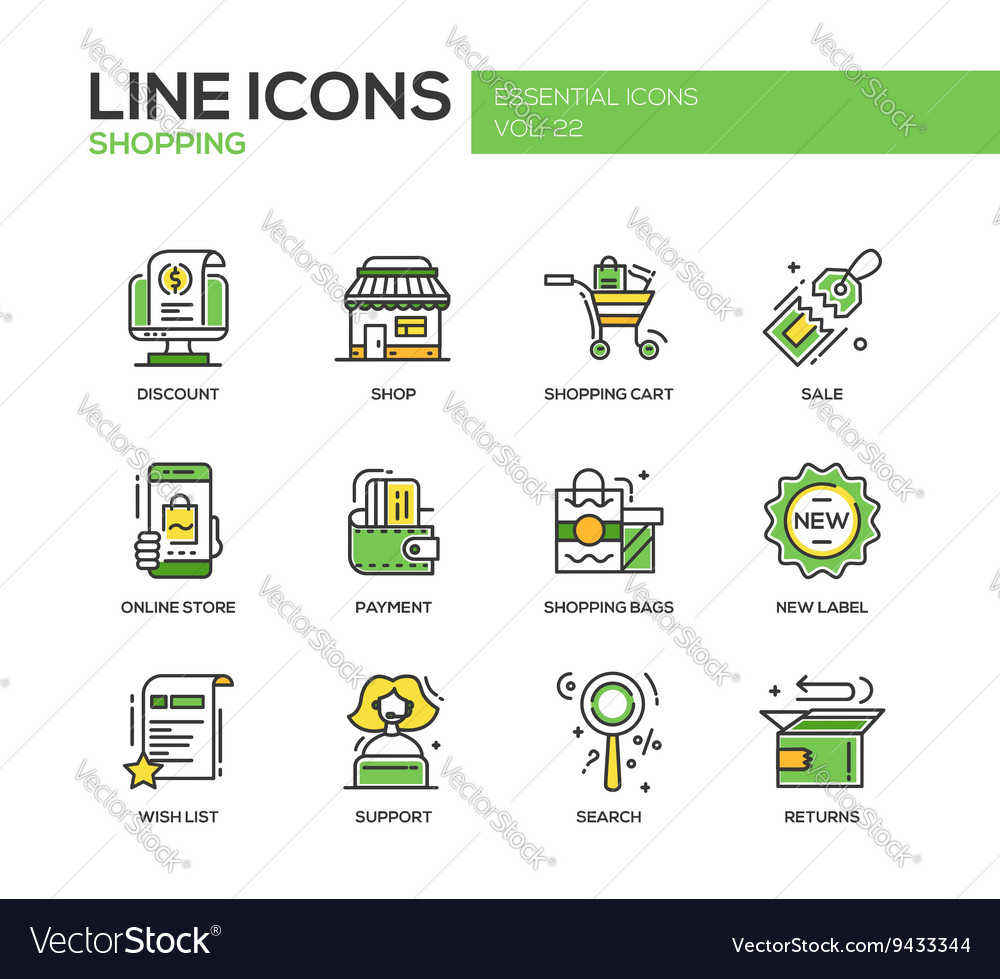 Shopping  line design icons set vector