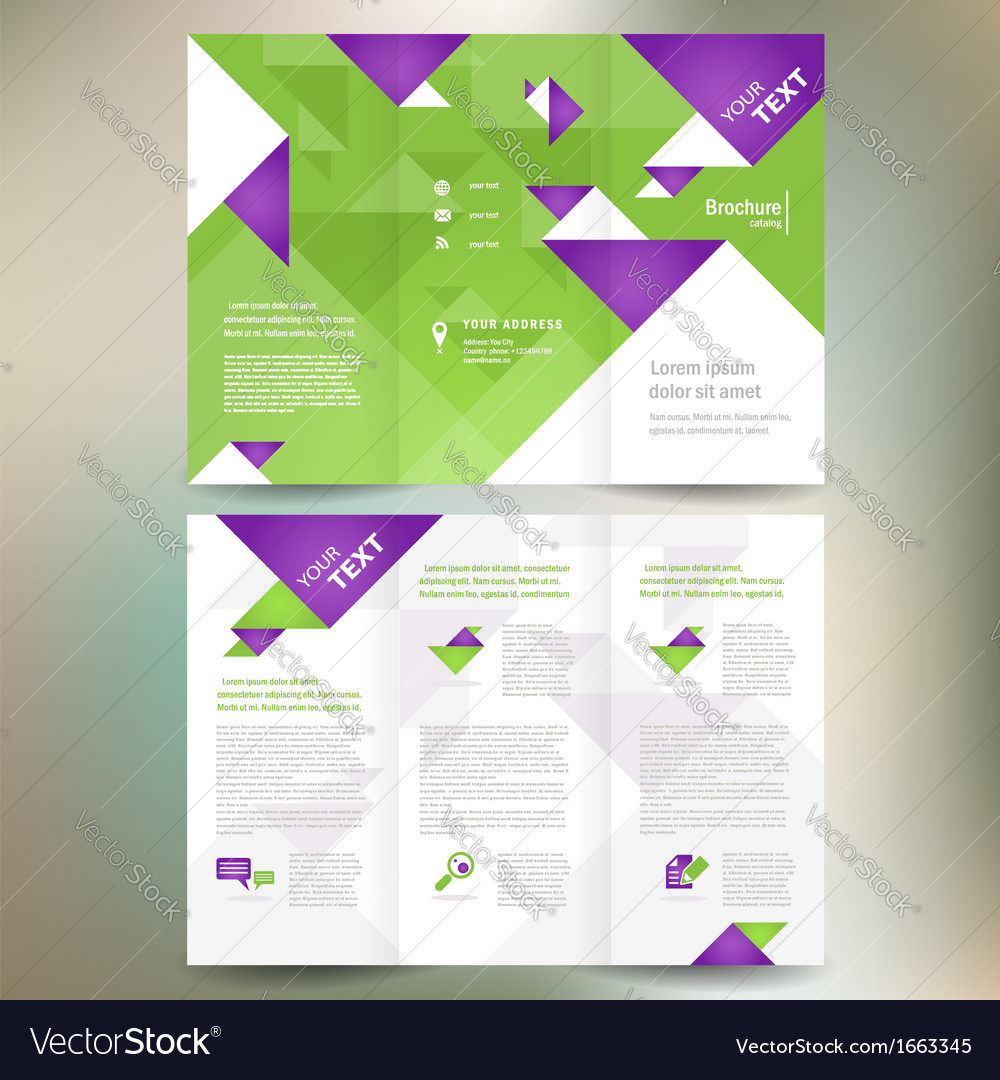 Brochure folder leaflet geometric triangle origami vector