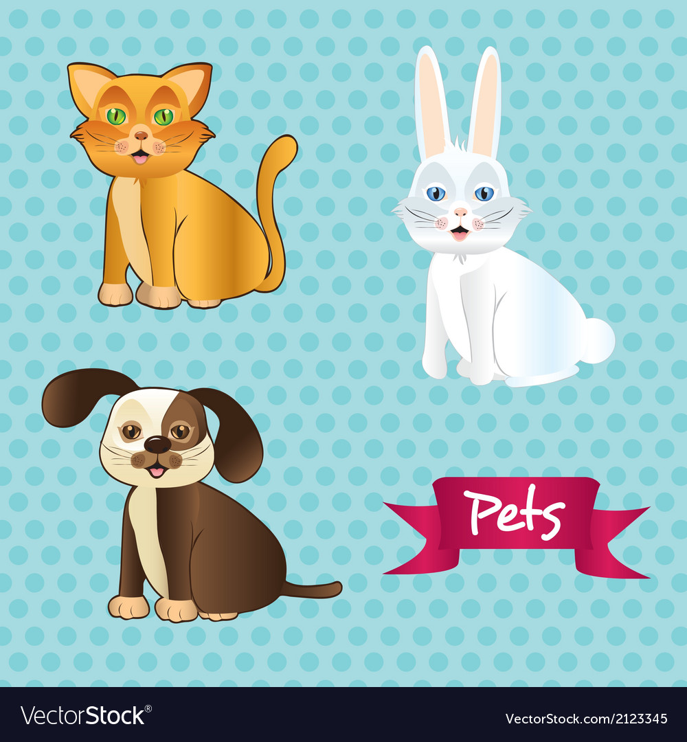 Dog cat and rabbit sitting on tender dots pattern vector