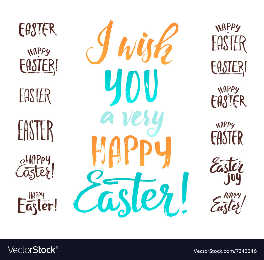 Happy easter calligraphic inscriptions set vector
