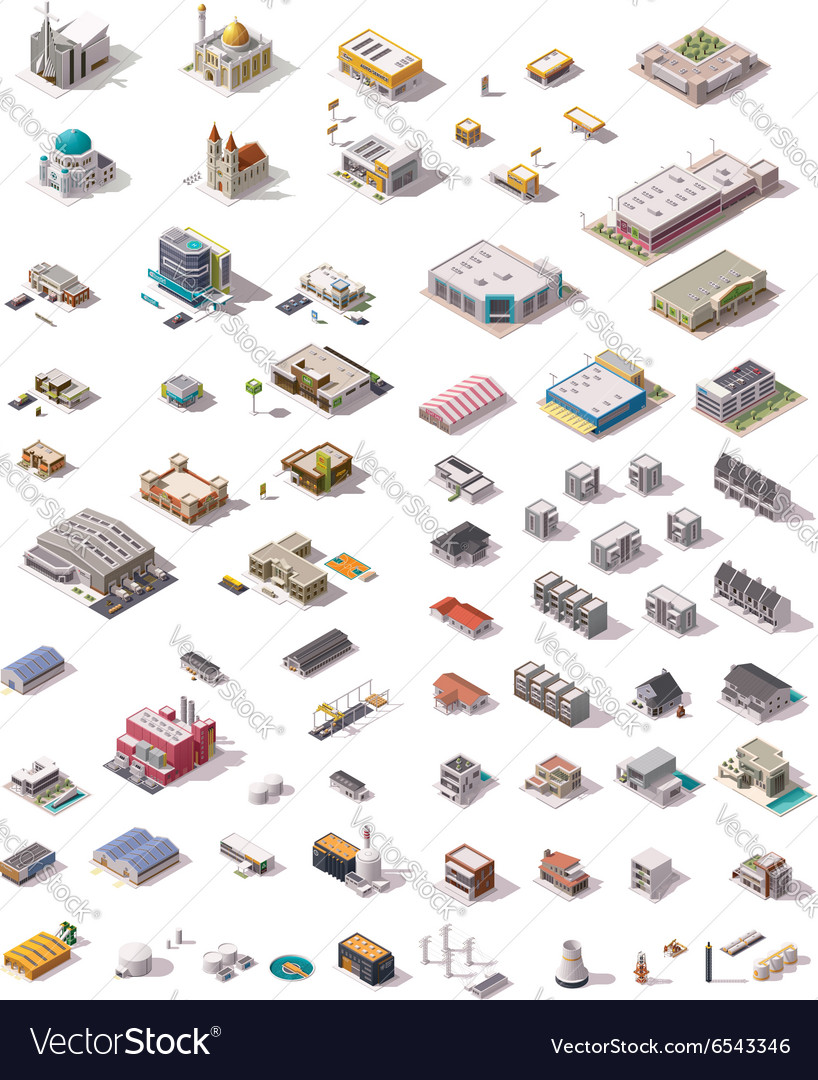 Isometric buildings set vector
