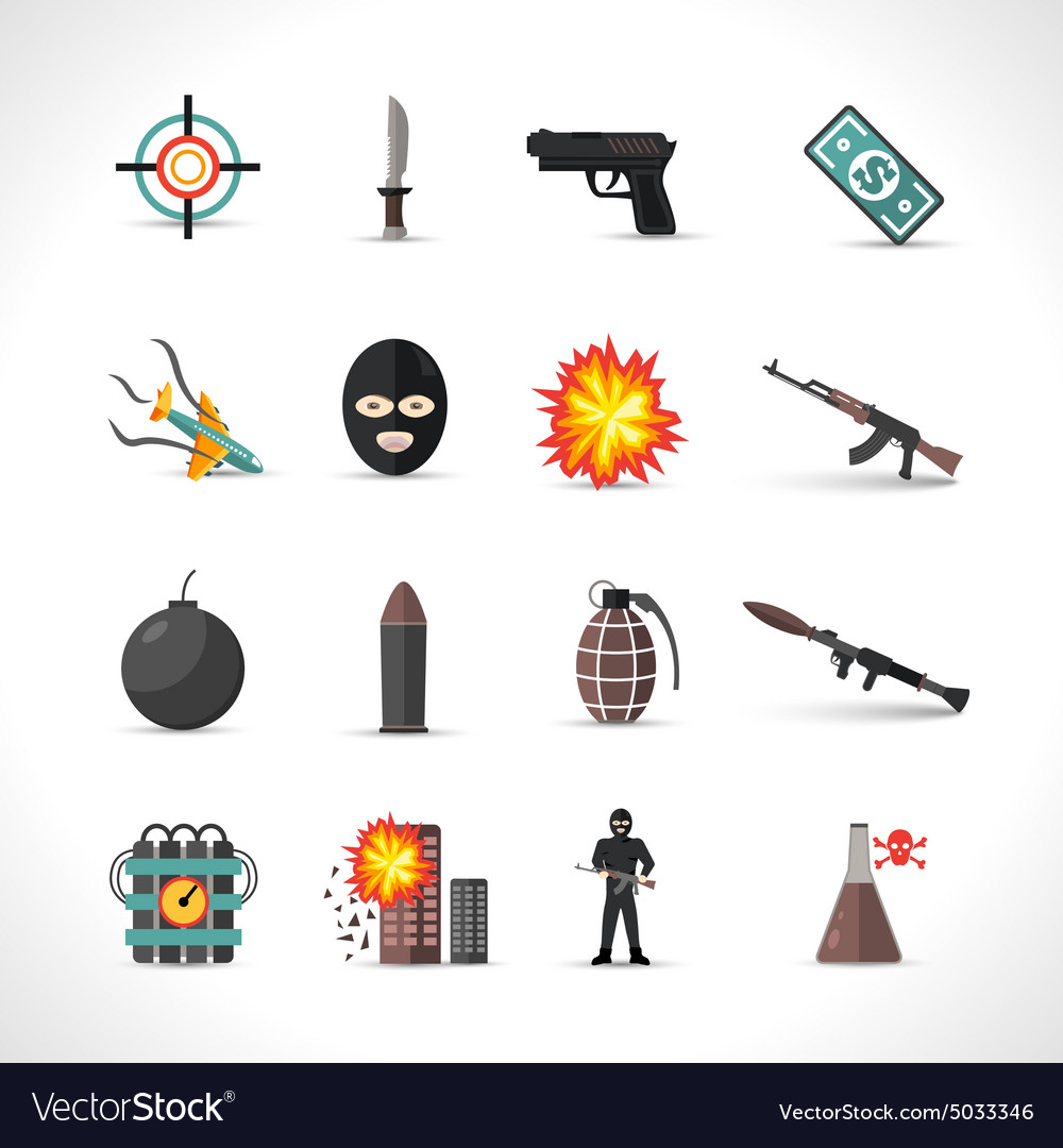 Terrorism icons set vector