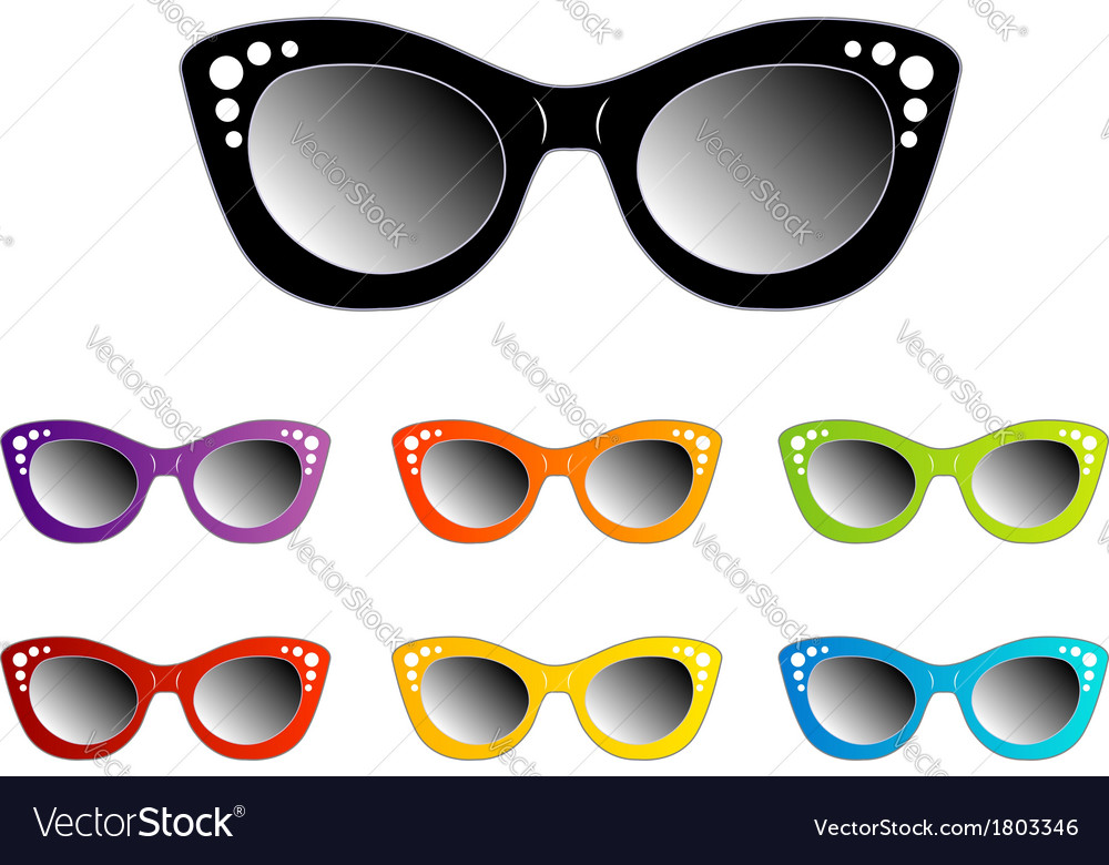 Vintage cat eye eyewear for ladies vector