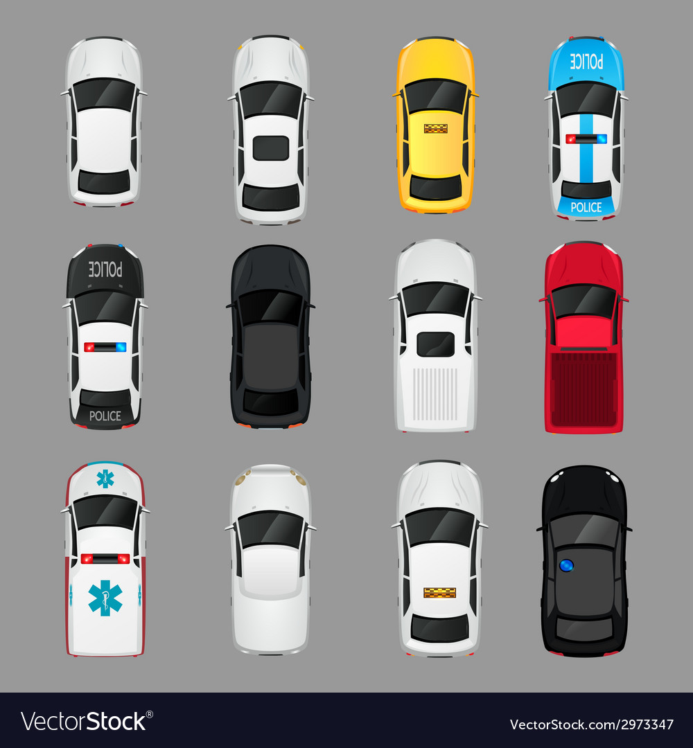 Cars icons top view vector