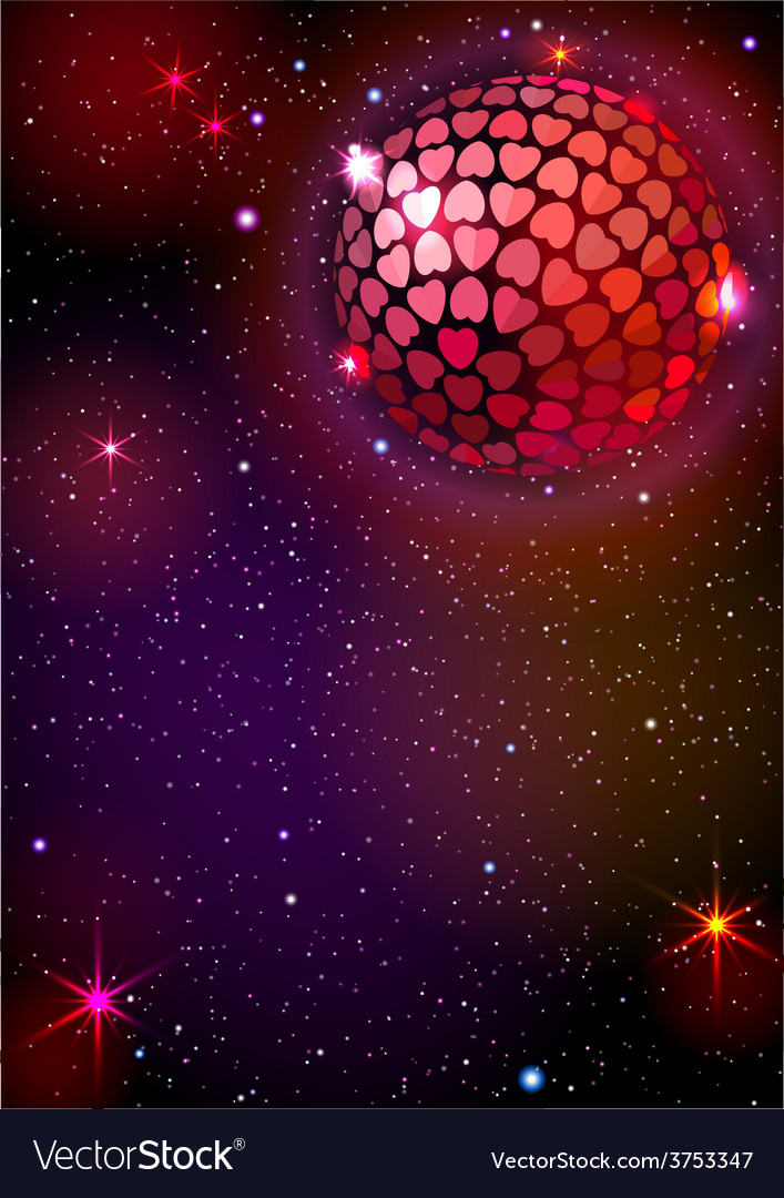 Disco ball with hearts background vector