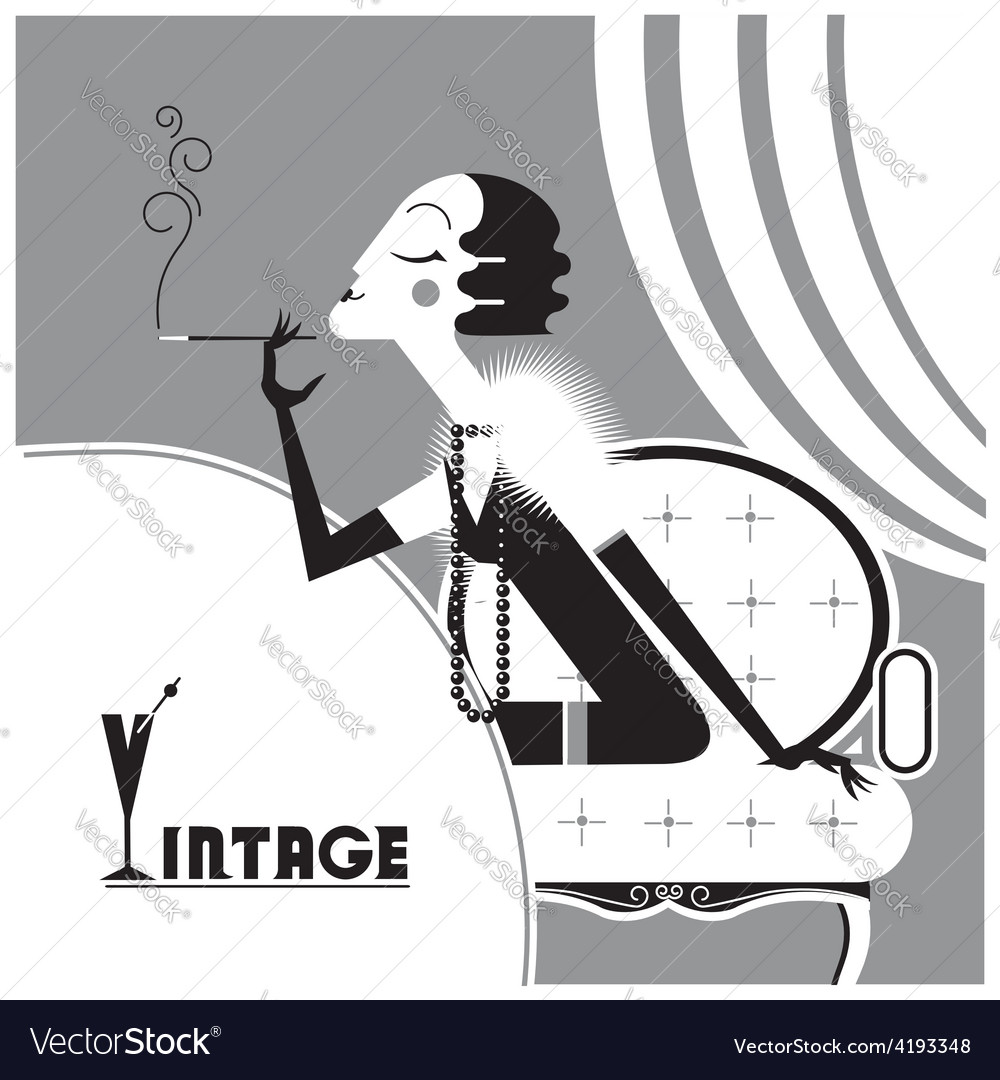 Vintage flapper girl with sigaret vector