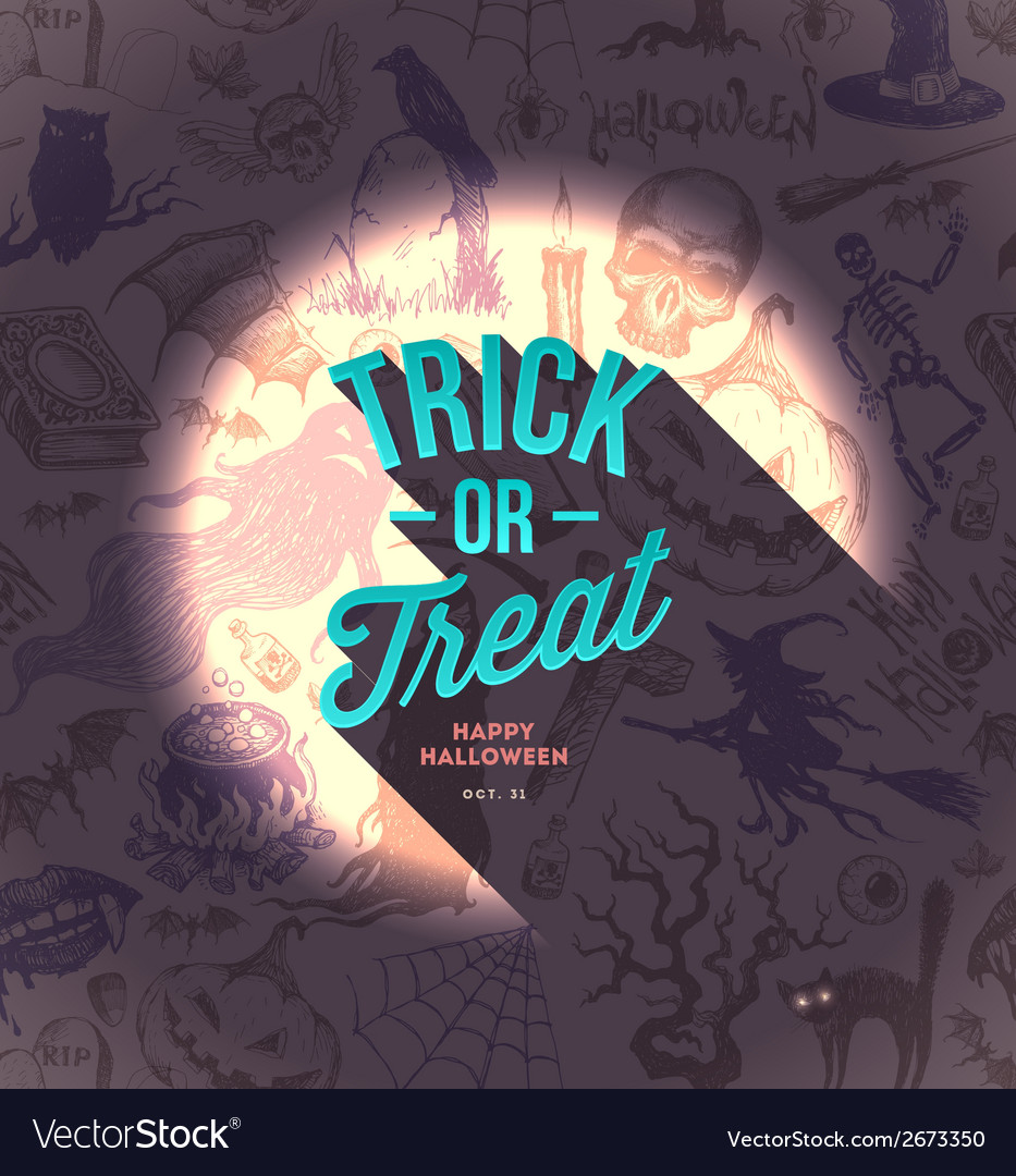 Halloween type design on a hand drawn background vector