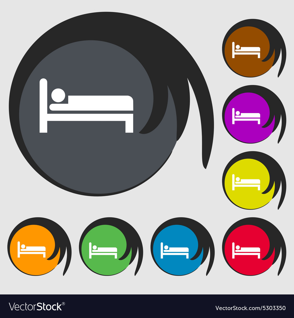 Hotel icon sign symbol on eight colored buttons vector
