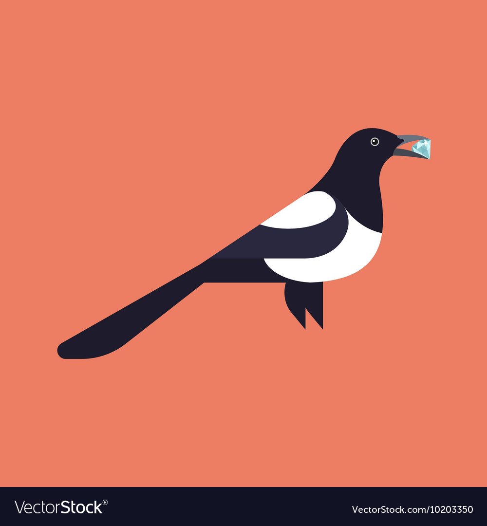 Magpie holding diamond vector