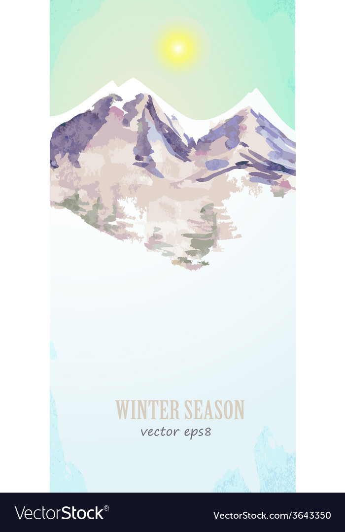 Watercolor poster with mountain landscape for your vector
