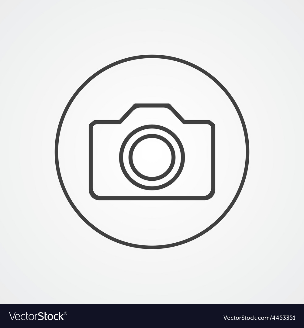 Camera outline symbol dark on white background vector