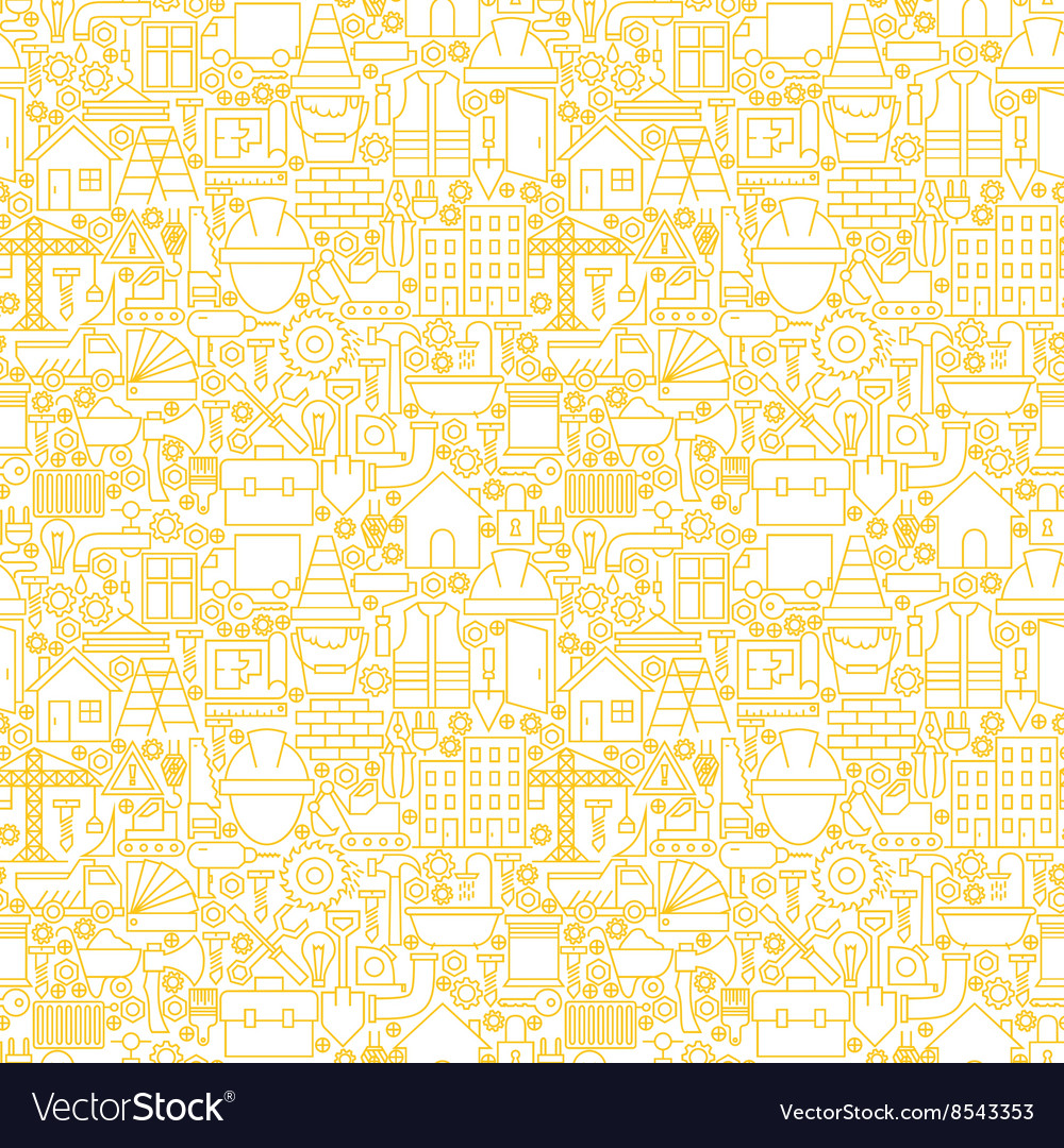Thin line construction white seamless pattern vector