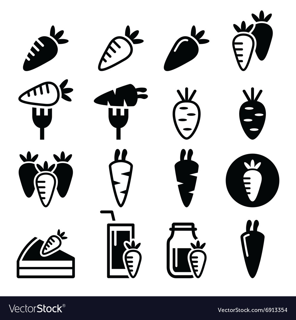 Carrot carrot meals  cake juice icons vector