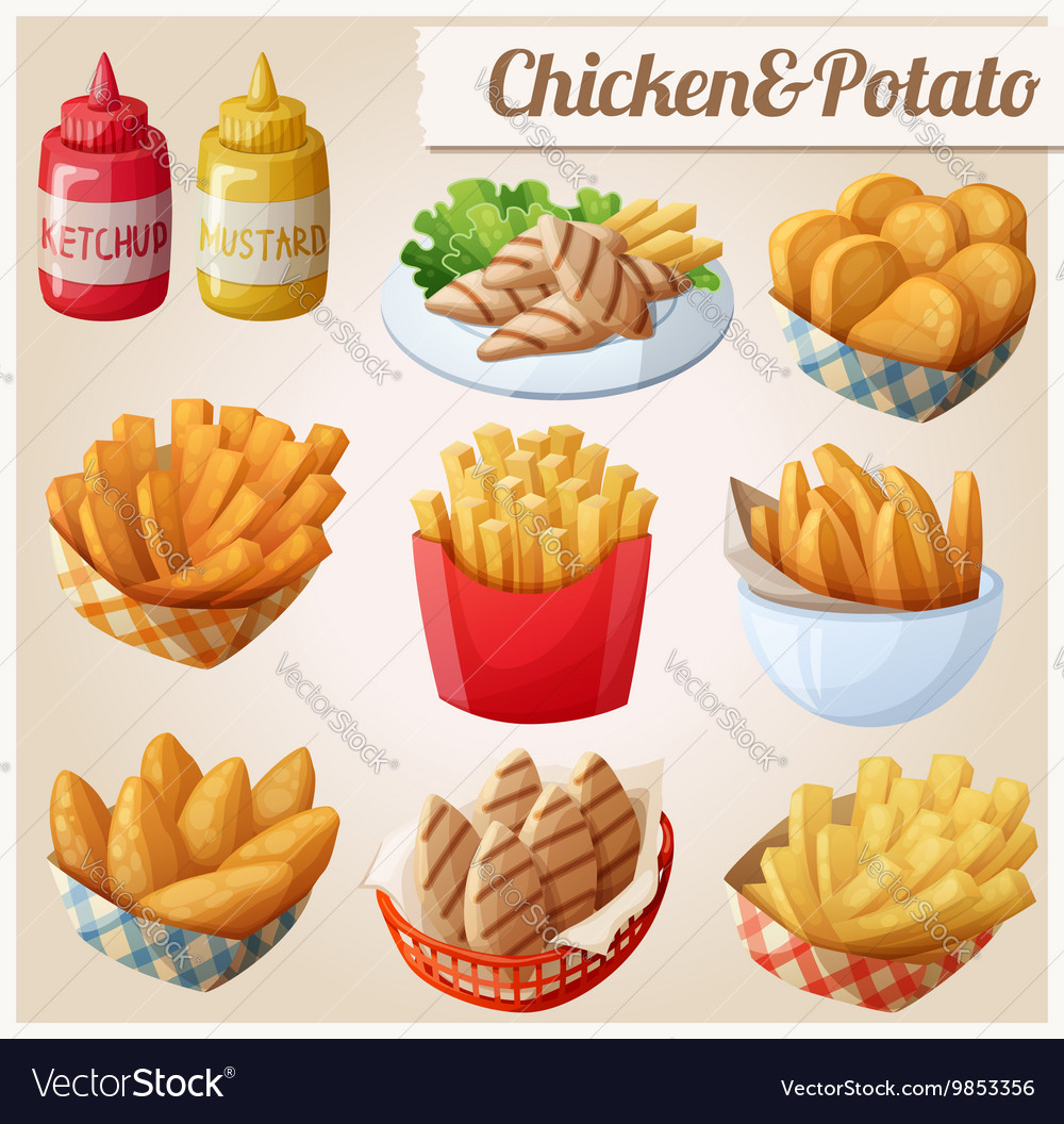 Chicken and potato set of cartoon food vector