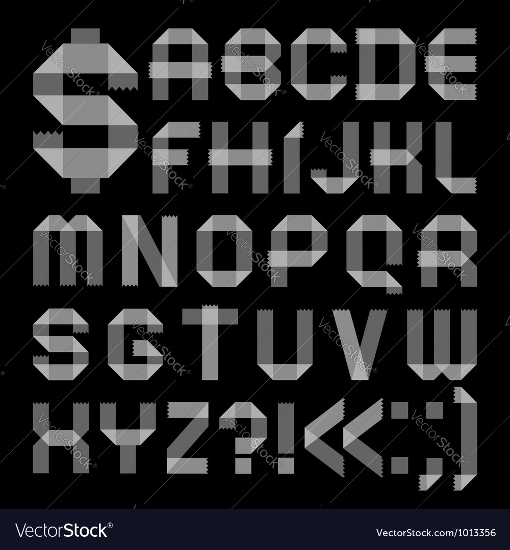 Font from scotch tape  roman alphabet vector