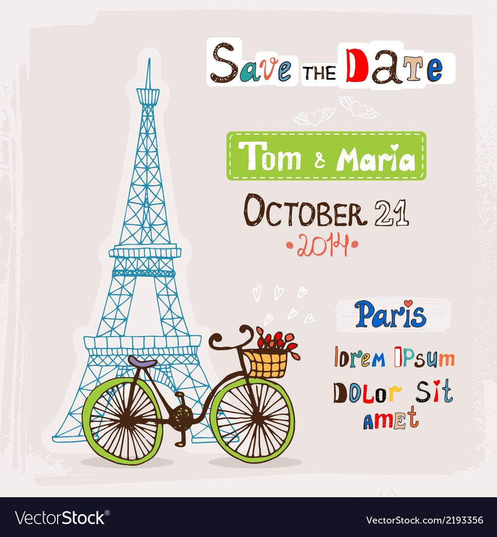 Paris wedding invitation vector