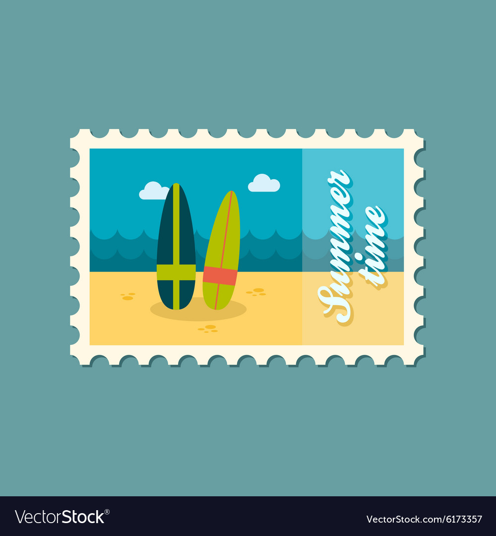 Surfboard flat stamp summertime vector