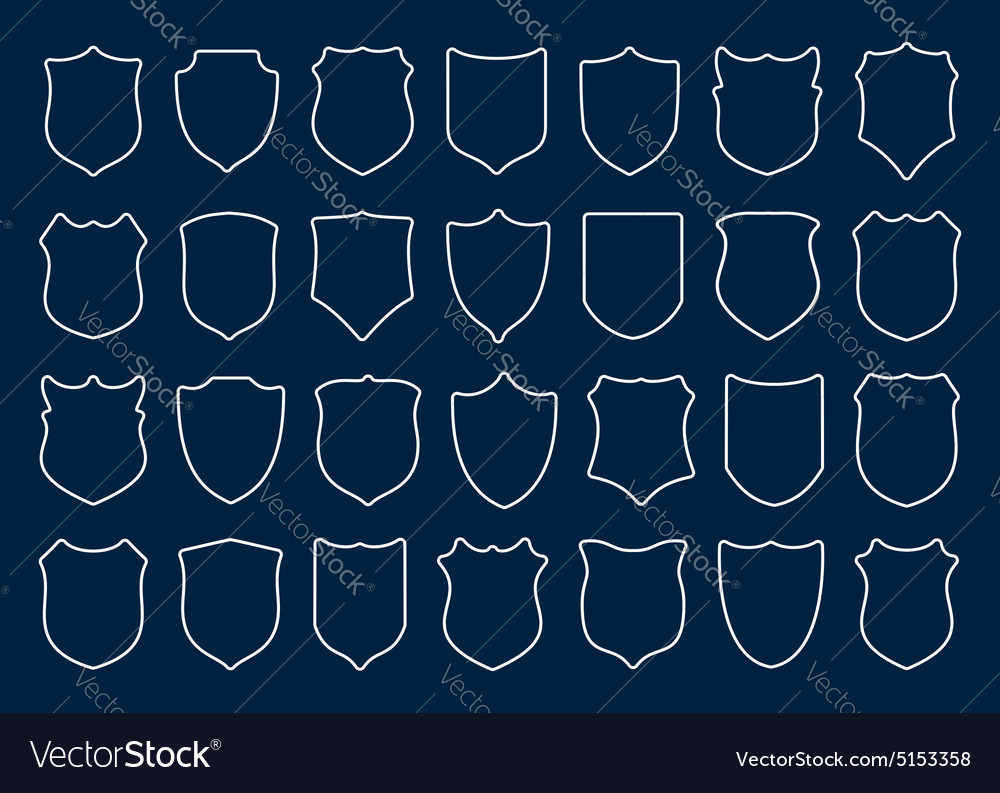 Large set of white shields on blue background vector
