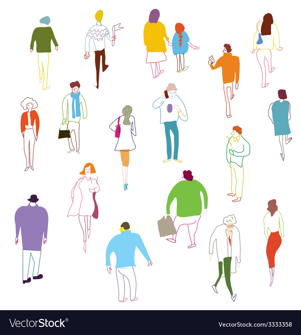 Many people walking talkink and standing vector