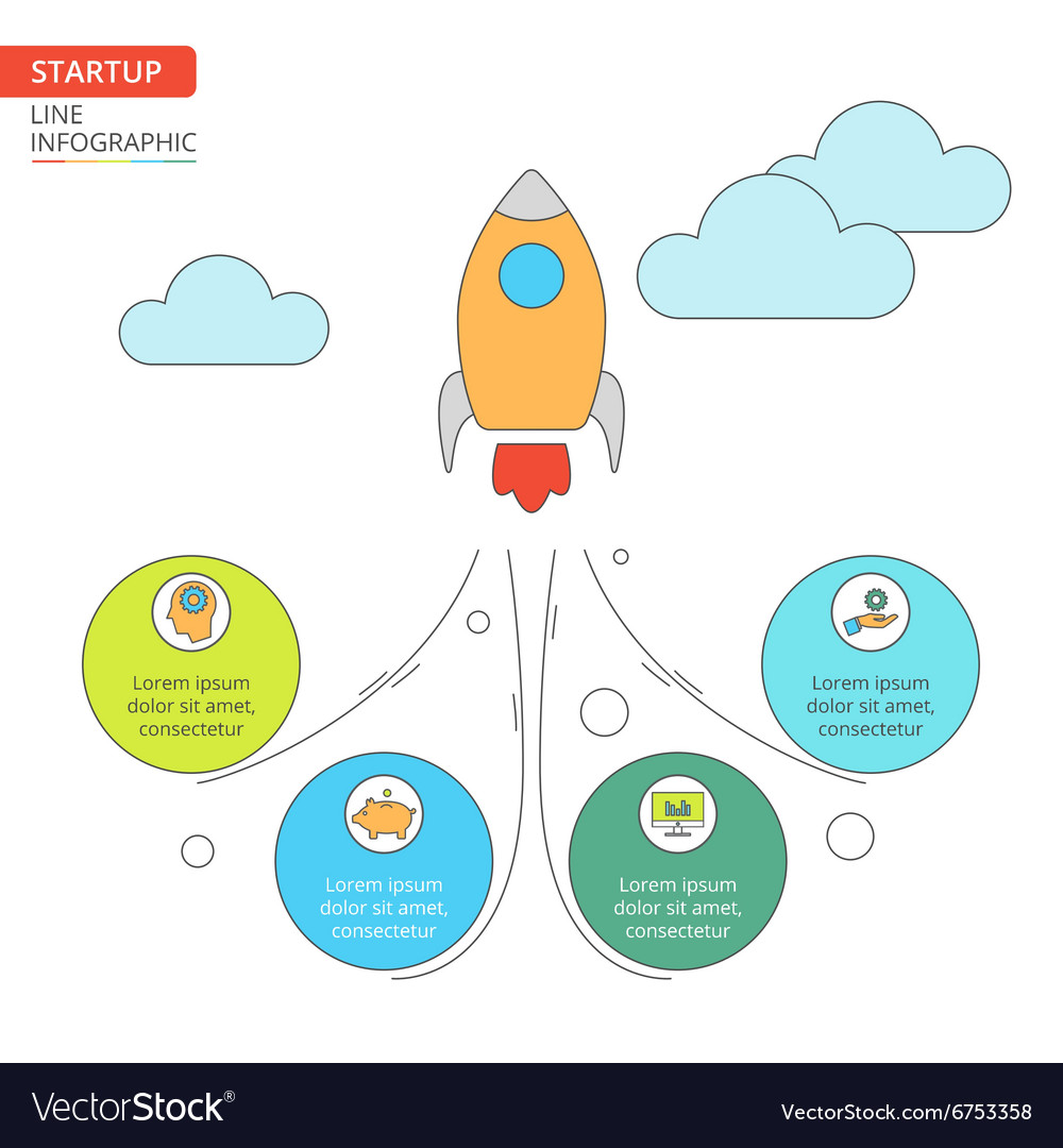 Thin line flat rocket for startup infographic vector