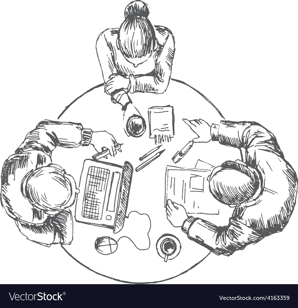 Businessmen working team at the table vector