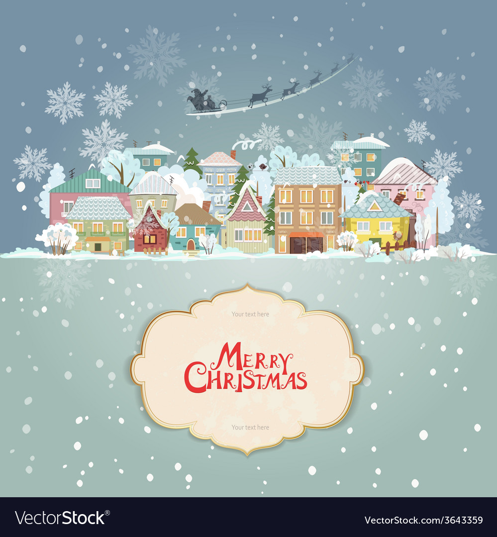 Christmas cityscape with vintage label for your vector
