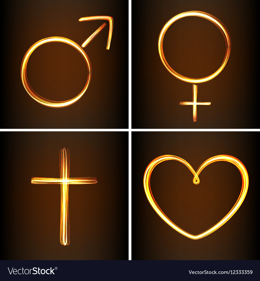 Silhouettes symbols heart venus mars and cross vector