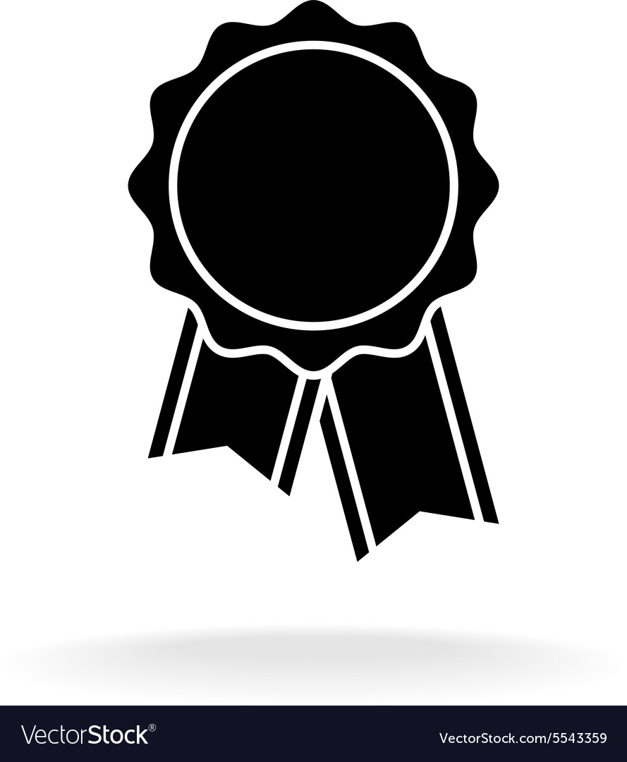 Simple black award badge silhouette logo vector