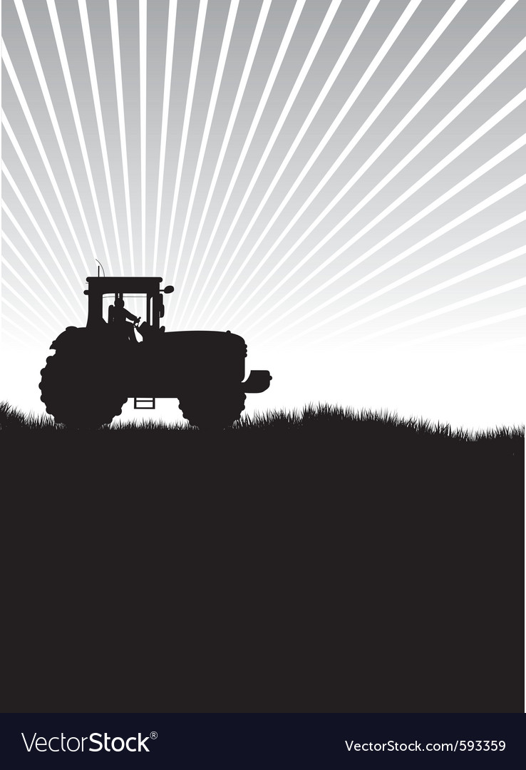 Tractor in a field vector