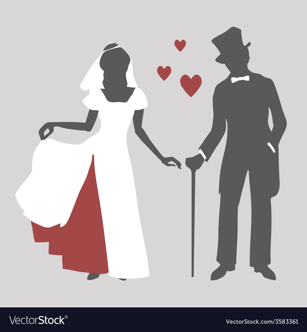 Bride and groom in retro style vector