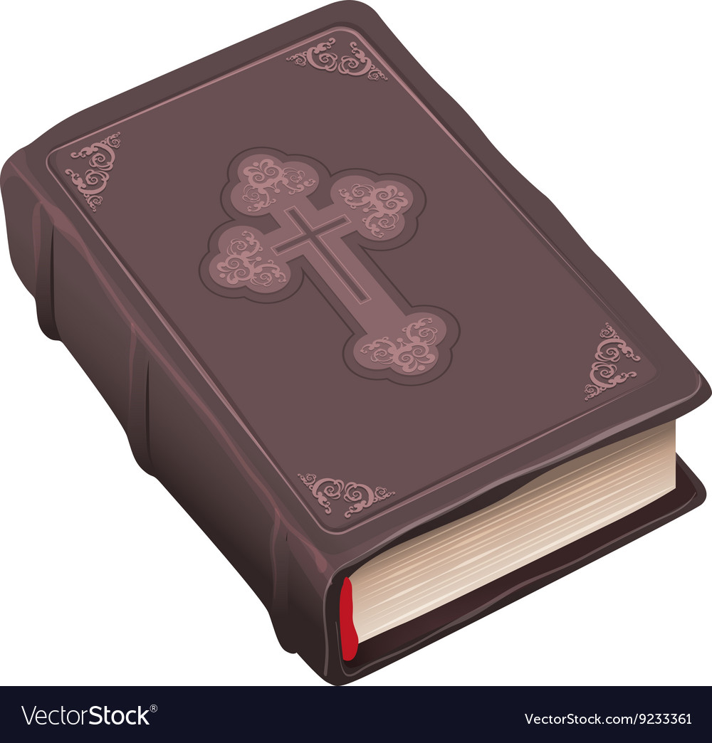 Closed old bible book in brown cover vector