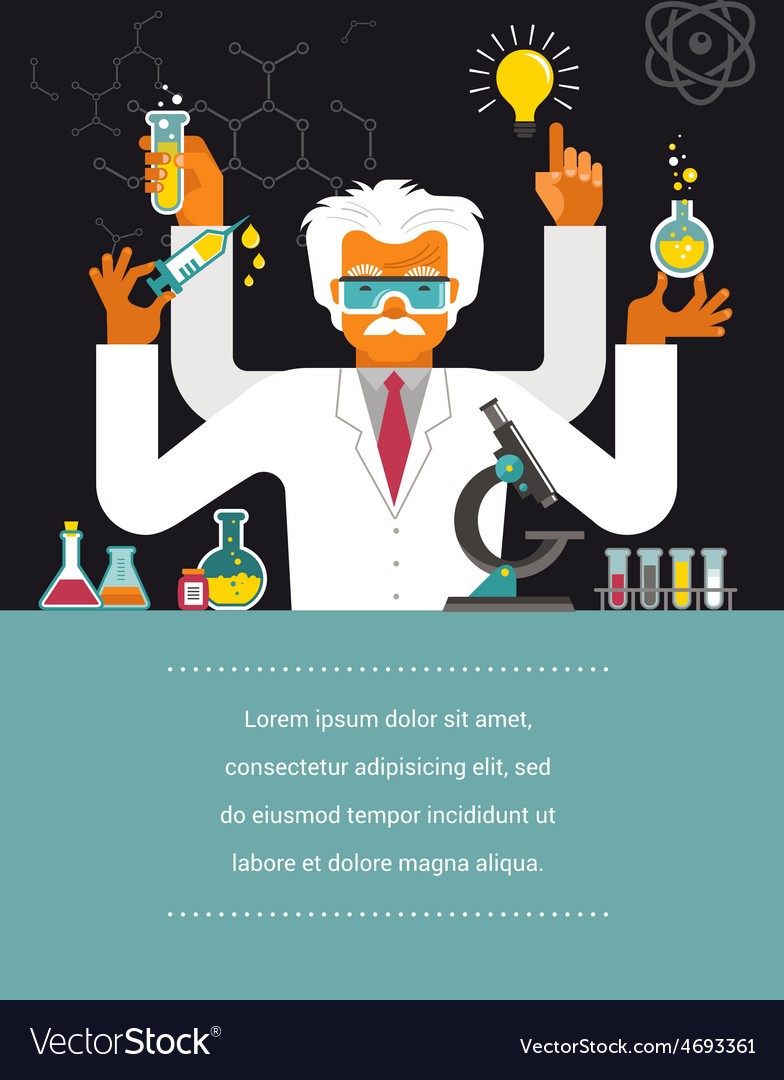 Mad scientist  research bio technology vector