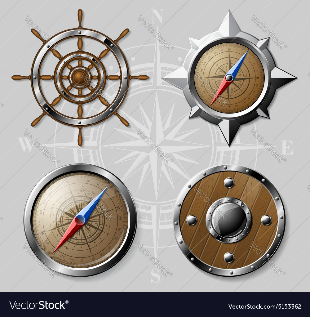 Set of wooden nautical elements isolated on white vector