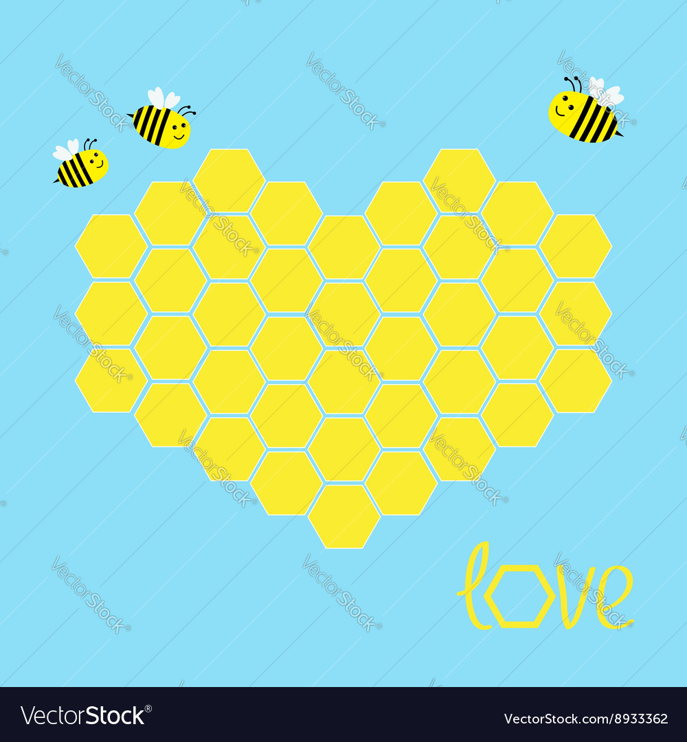 Yellow honeycomb set in shape of heart bee insect vector