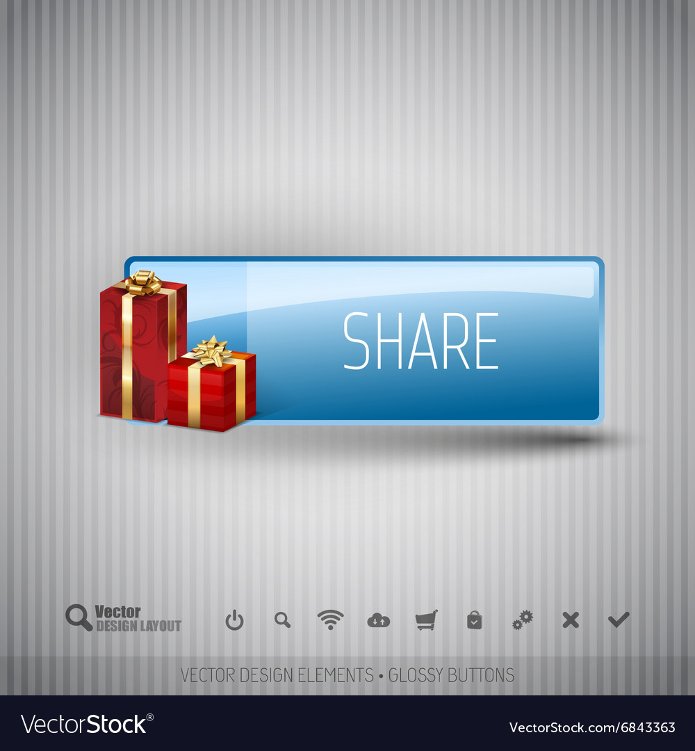 Glossy button with gifts winter christmas special vector