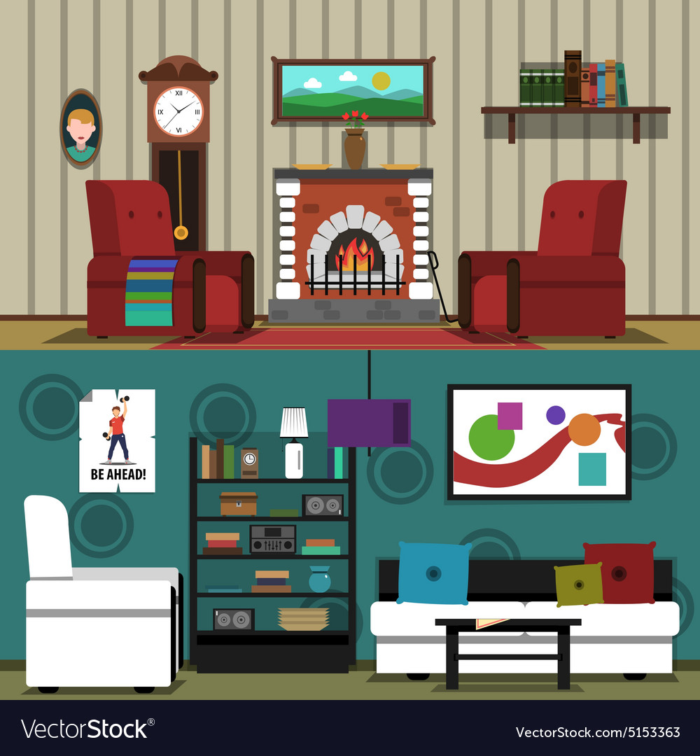 Interior banner horizontal vector